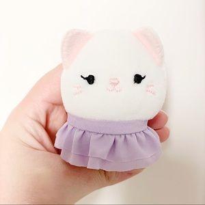 Squishmallow Squishville White Cat in Purple Skirt